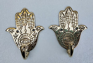 Brass-Decorative-wall-Hooks-Hamsa-Lot-of-2-pcs