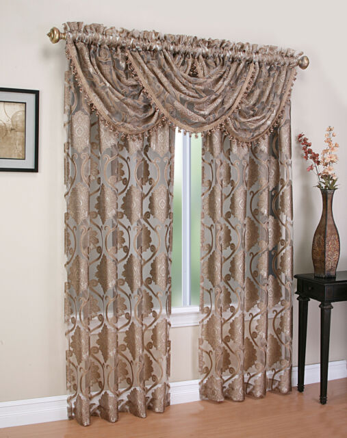 Luxury MILAWI WINDOW TREATMENT SET, JACQUARD SHEER, set of 2 Panel & 3 valance