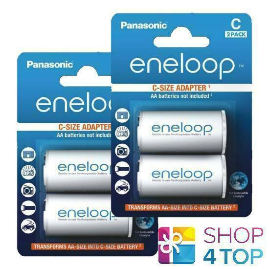 4 Panasonic Eneloop AA Battery Adapter r6 to C r14 measure converter spacer