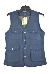 Jeremiah-Porter-Herringbone-100-Wool-Vest-Mens-Navy-Sleeveless-V-Neck-2XL