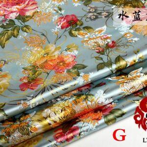 Chinese-Peony-Satin-Jacquard-Brocade-Flower-Fabric-Costume-Upholstery-By-Metre