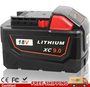 For Milwaukee M18 18 Volt Lithium XC 9.0 AH Extended Capacity Battery 48-11-1890
