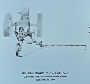 Details about IH McCormick Farmall No 25-V Universal Mount Rear Sickle Bar  Mower Parts Catalog