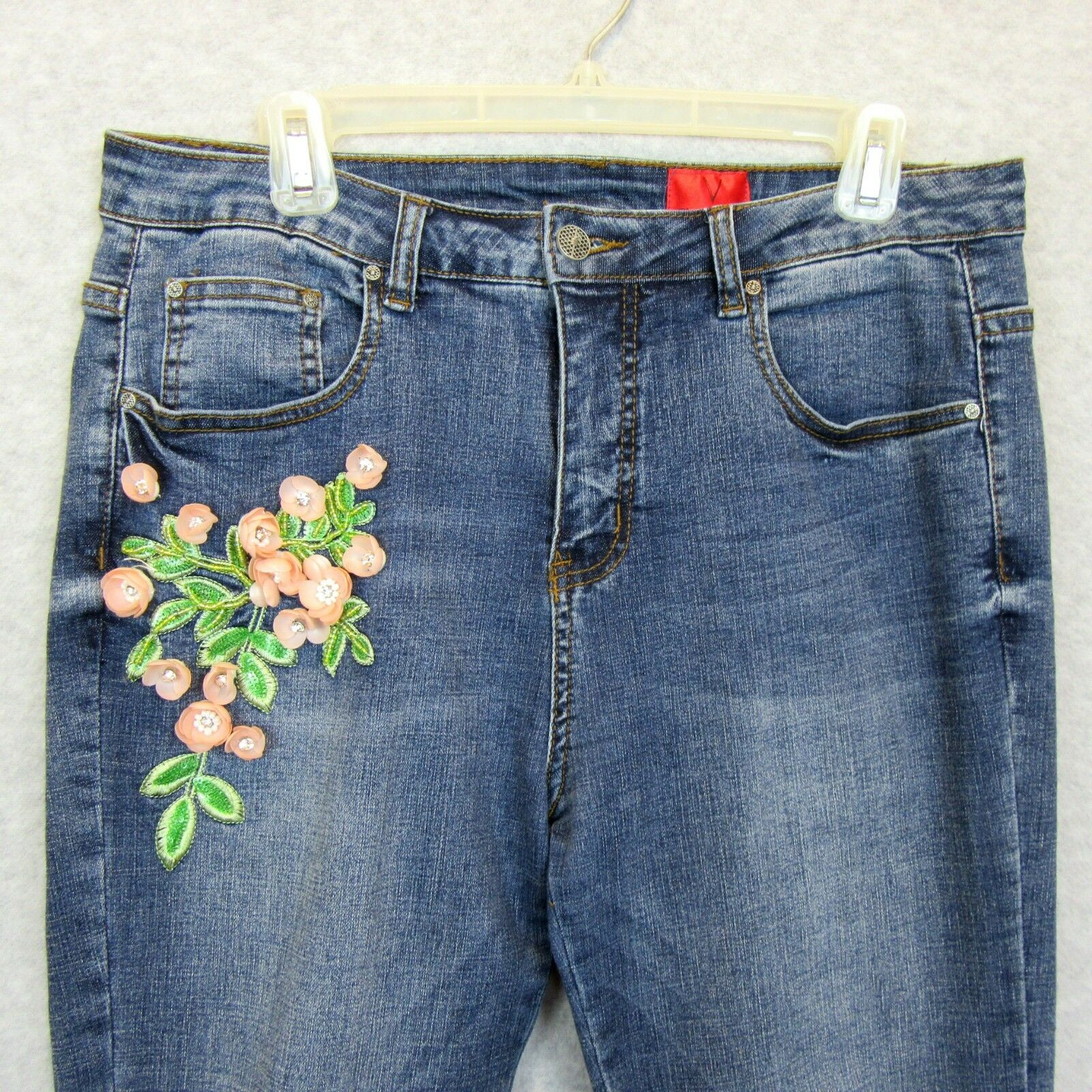 Cristina V Womens Size 12 Jeans 3-D Flowers, Rhinestones, Beading, Embroidered