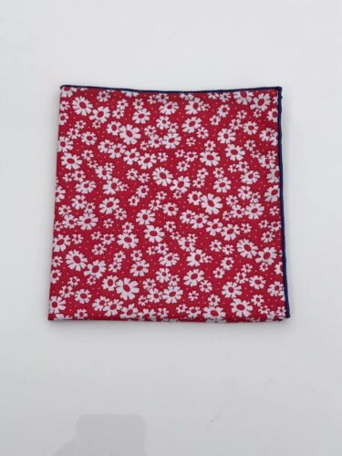 Red Floral Pocket Square with Blue Trim