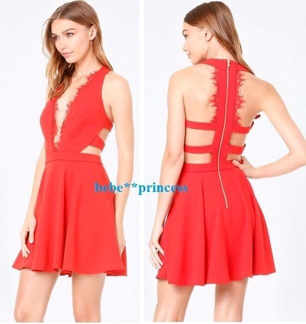 NWT bebe rot scallop lace trim flare deep v cutout back top dress XL 12