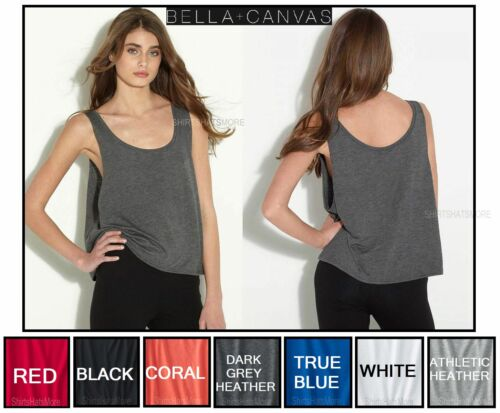 Bella Ladies Crop Flowy Tank Relaxed Fit Great For Layering 7 Colors Size S-L//XL