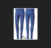 New! Womens Adidas Originals Allover Leopard TREFOIL LEGGINGS Blue G76022