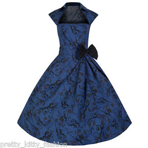 PRETTY-KITTY-ROCKABILLY-50s-BLUE-VINTAGE-STYLE-PIN-UP-VTG-SWING-PROM-DRESS-8-22