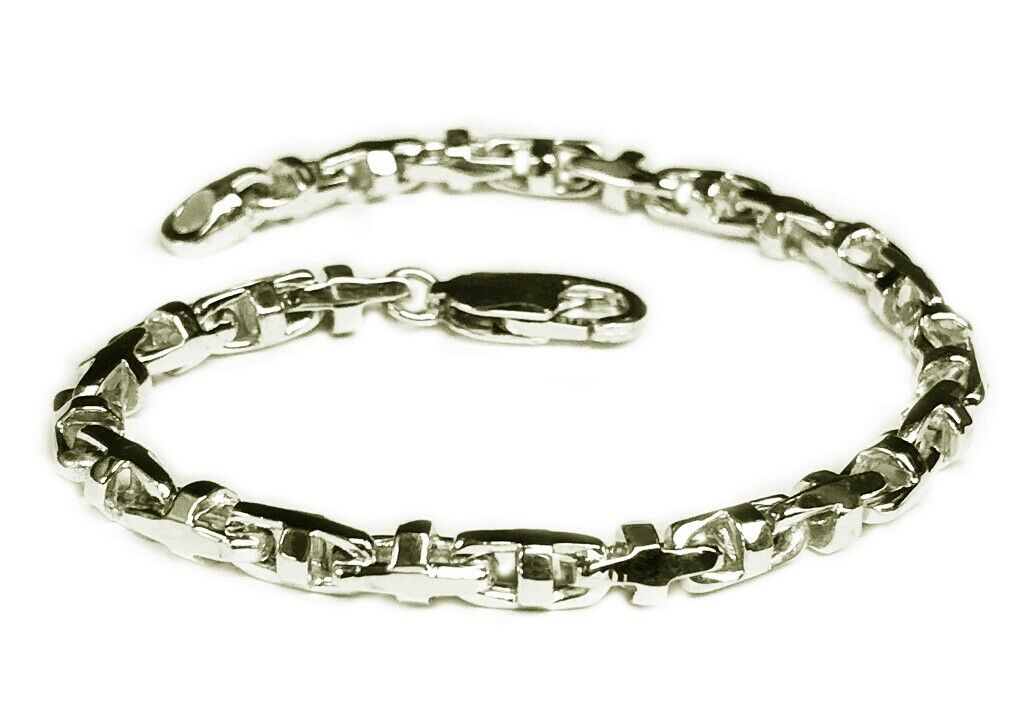 bd2a7664e 14k Solid White gold Anchor Bullet Mariner Link Chain 4MM 18 grams 10  Bracelet nvyhoa8518-Precious Metal without Stones