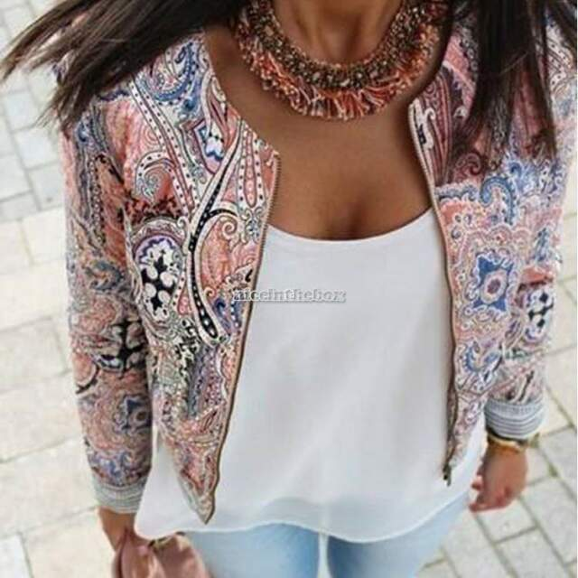 Retro Ethnic Floral Print Embroidered Short Jacket Thin Padded Coat Top Outwear