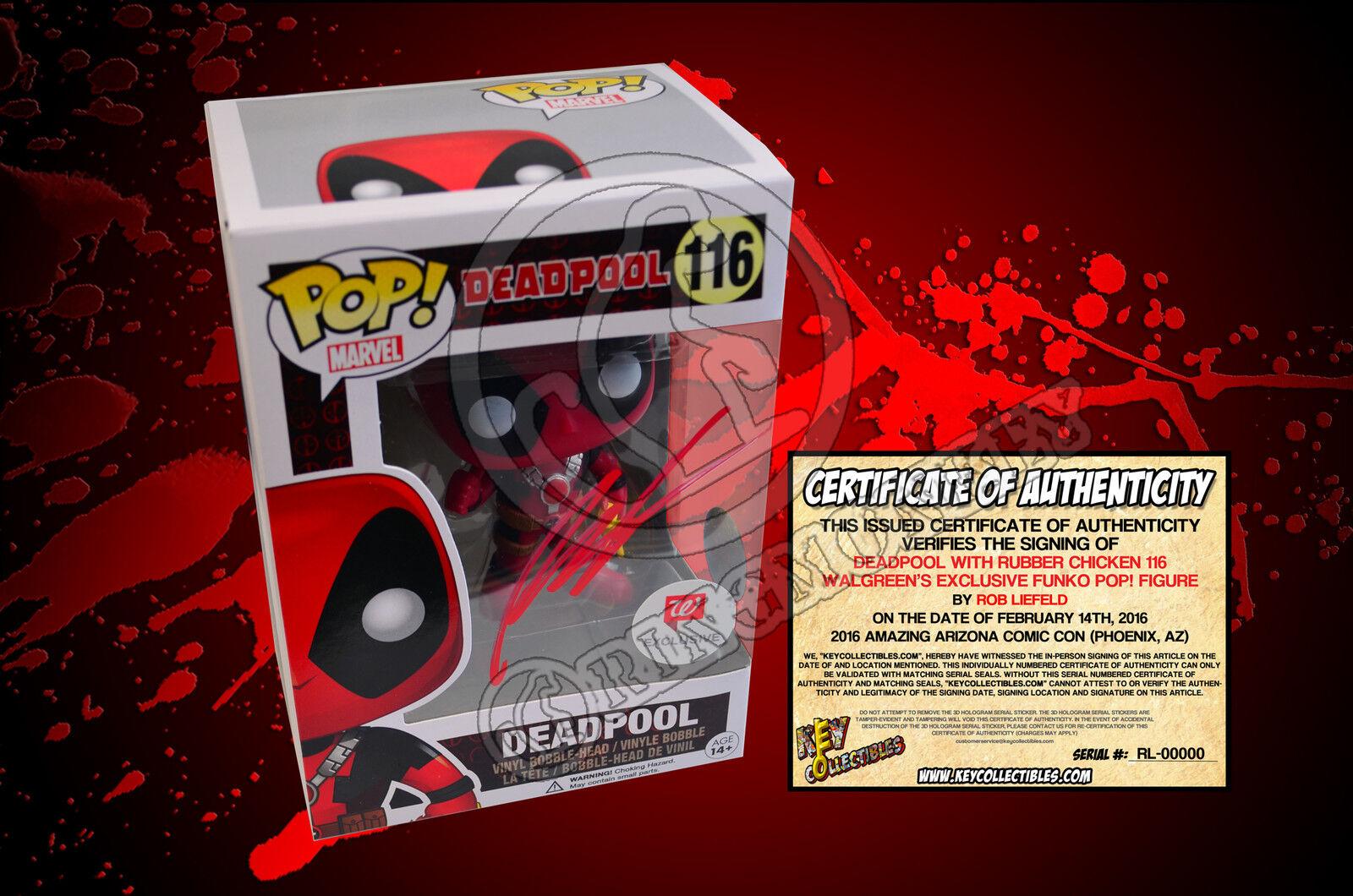 Deadpool Con Pollo De Goma De 116 Walverdes Exclusive Pop-Firmado Por Rob Liefeld