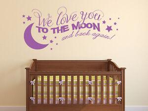 Details zu Wandtattoo Kinderzimmer Sprüche We love you to the Moon Nr 1  Babyzimmer Tattoo