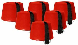12-X-Adults-Red-Fez-Hat-Tommy-Cooper-Moroccan-Turkish-Fancy-Dress-Up-Party-Bulk