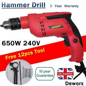 Dekton Power 240V 1050W Pro Impact Drill Wood Concrete Steel Hammer Aux Handle