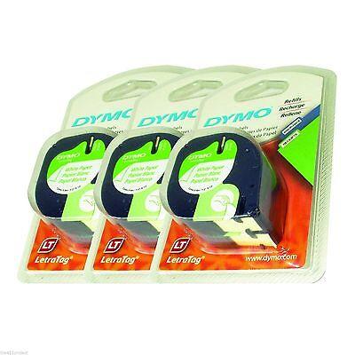 6PK Genuine Dymo 10697 Letra Tag PAPER Label Tapes LetraTag PLUS, LT-100 & QX50