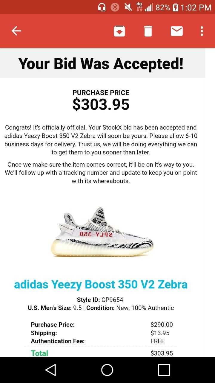 918612576 Adidas Yeezy Boost 350 V2 Zebra shoes - Size Size Size 9.5