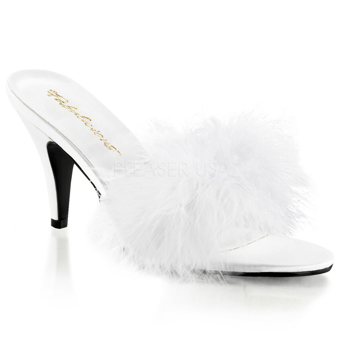 Fabulicious By Pleaser Amour-03 blanc Classic Marabou Slipper