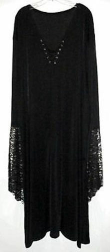Sexy Black Velvet Lace-up Dress Witch Costume Gothic 3x