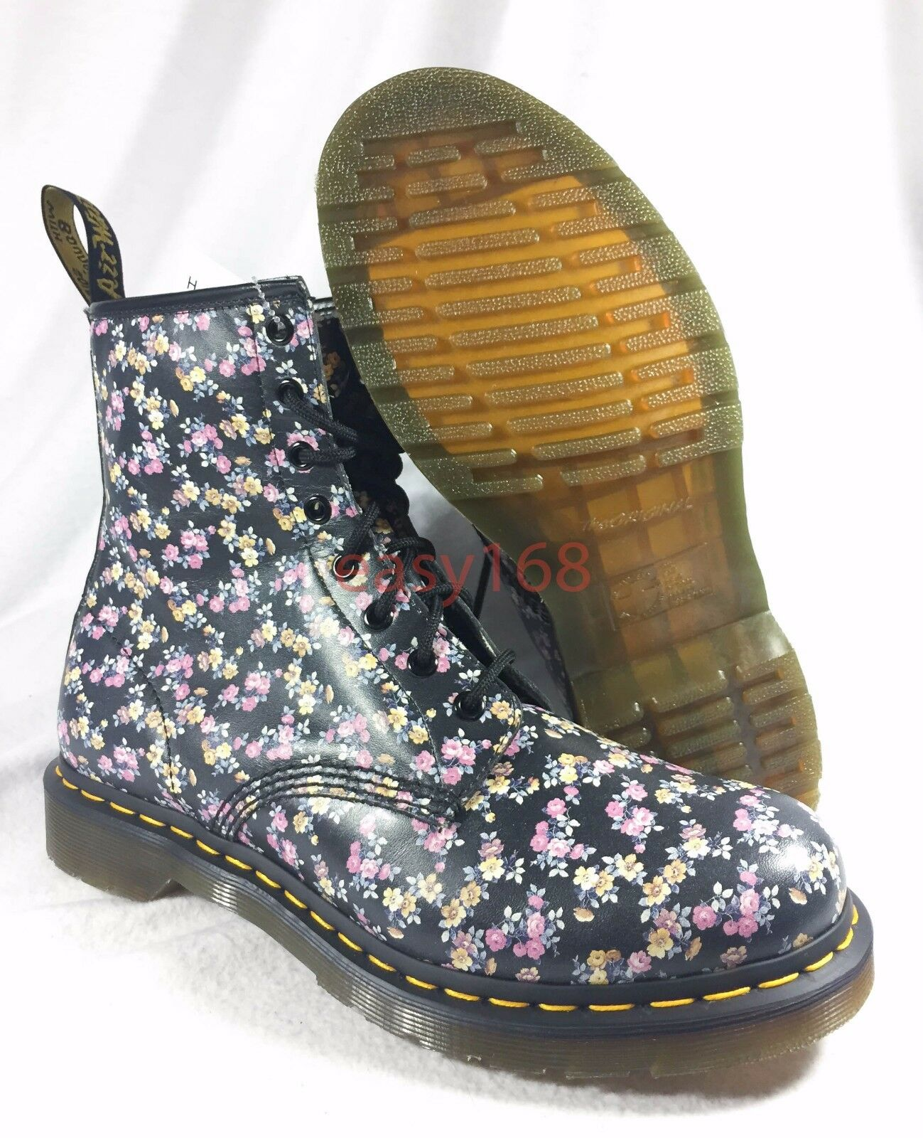 New Dr Martens 1460 W Sz 11 Floral 8-eye Boot Air Black 11 Womens Flower 9 UK