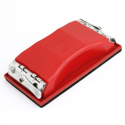 Rechteck Papier Koernung Schleifpapier Halterung Hand Sander rot schwarz J8M1