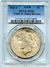 C4372- 1923-S VAM-1C PITTED REVERSE TOP 50 PEACE DOLLAR PCGS AU53
