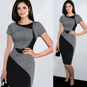 Womens-Short-Sleeve-Bodycon-Formal-Cocktail-Evening-Midi-Pencil-Office-Dress-B