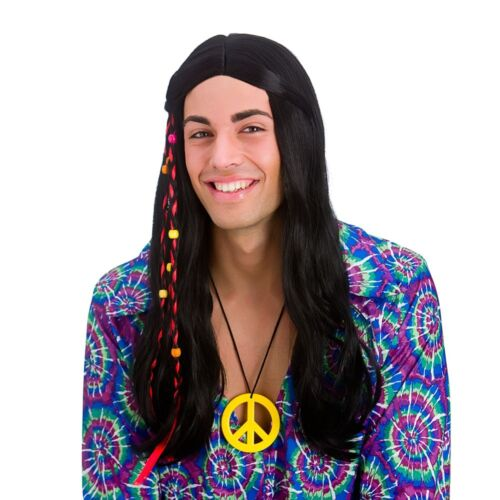 COOL Hippie Hippy Costume Parrucca 1960s 60s Accessorio Uomo Donna Nuovo Fortissimo