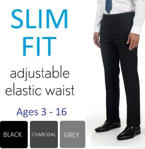 Boys Slim Fit School Trousers Black Charcoal Grey Age 3-16 Yrs Adjustable Waist