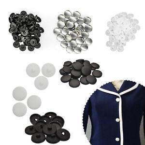 50-100-un-Negro-Blanco-Artesania-cubierto-de-tela-Botones-Piezas-Aluminio-Plastico-Espalda