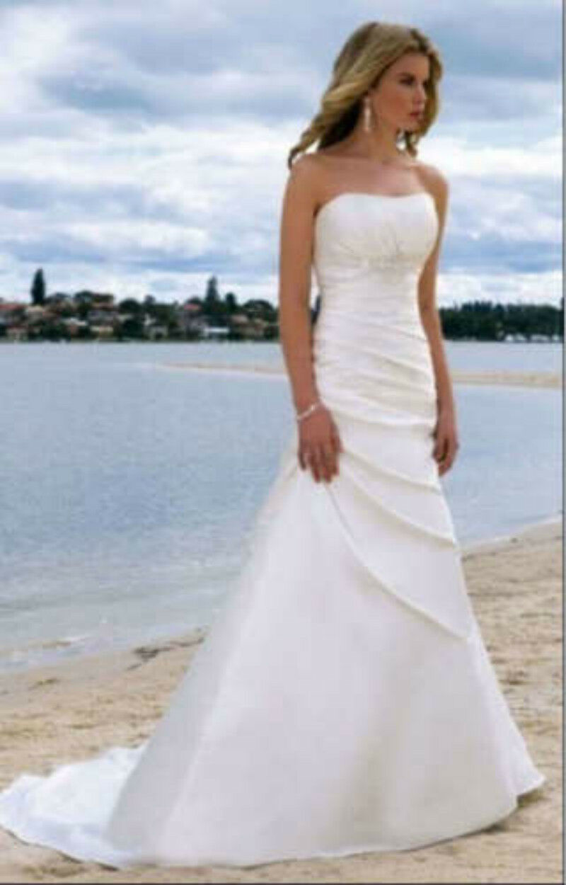 2019 Simple White Ivory Bridal Gown A-line Wedding Dress Size  6 8 10 12 14 16++