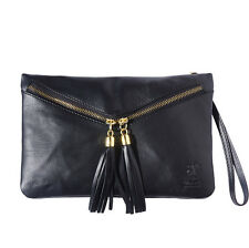 Clutches Bag Italian Genuine Leather Hand made in Italy Florence 6127 bk