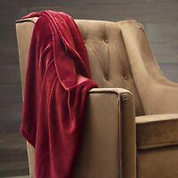 Solid Burgundy Dark Red Blanket Bedding Throw Fleece King Super Soft Warm
