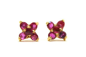 9ct-Gold-Ruby-Cluster-stud-Earrings-Gift-Boxed-Made-in-UK-Christmas-Gift