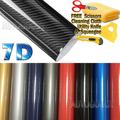 Premium Super Gloss 7D Carbon Fiber Vinyl Film Wrap Bubble Free Air Release 6D