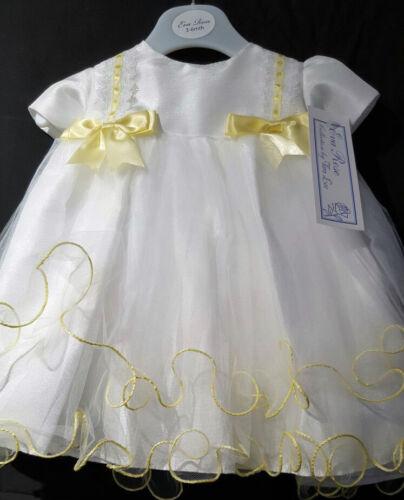 EVA rose occasion spéciale bébé fille robe en Blanc//Citron