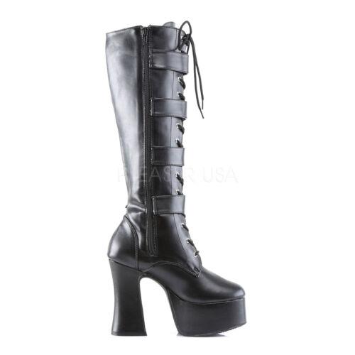 Demonia Slush 225 Ladies Black Goth Punk Lolita Block Hell Boots Buckes