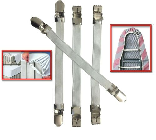 4 X SHEET GRIPPERS STRAPS FASTENERS HOLD GRIPS SHEETS ELASTIC CHROME CLIPS