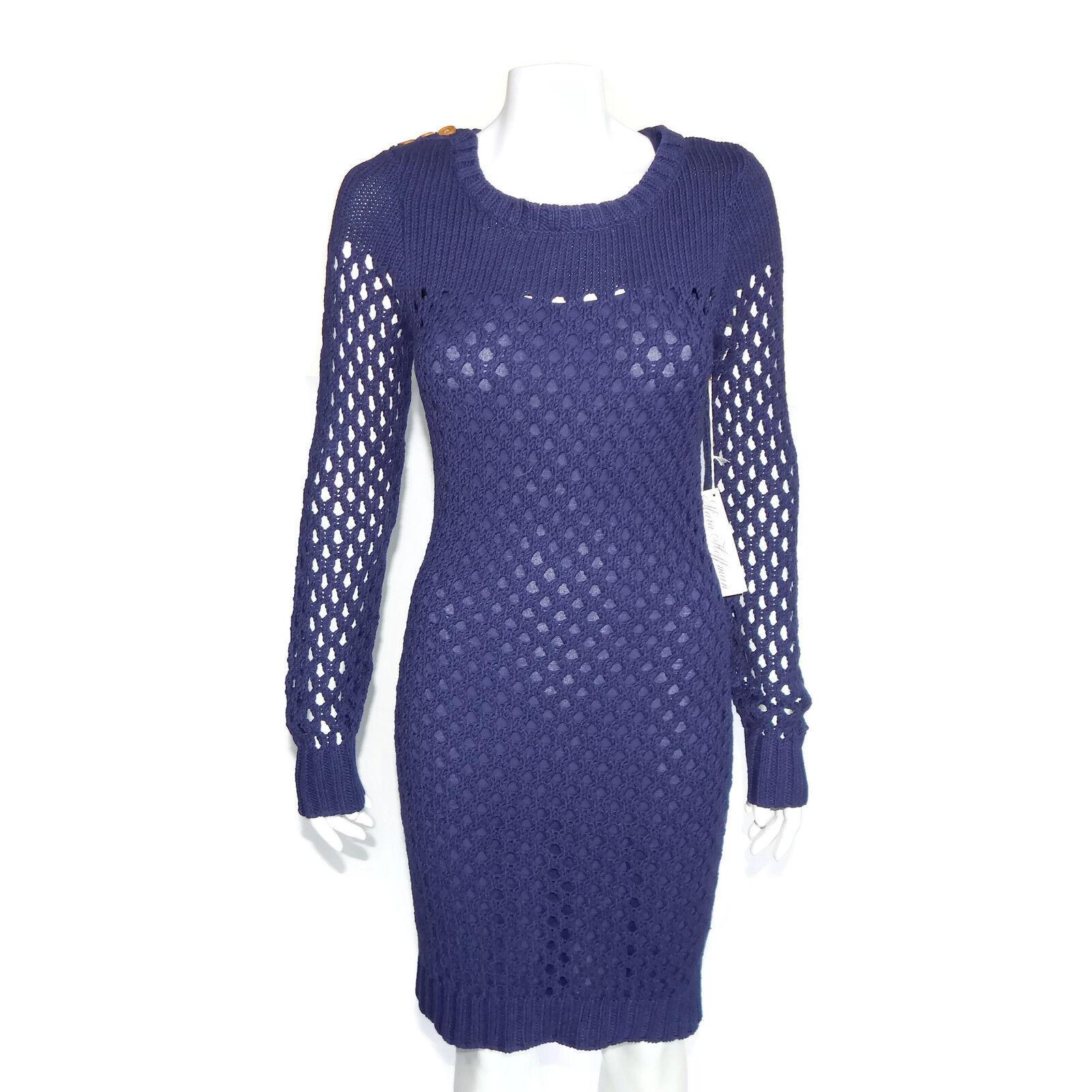 New Mara Hoffman Royal bluee Purple Eyelet Knit Bodycon Dress Size Large