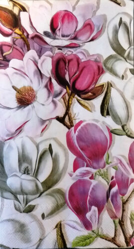 2 Magnolia Flowers Paper Hostess Napkins for Decoupage and Paper Crafts TWO