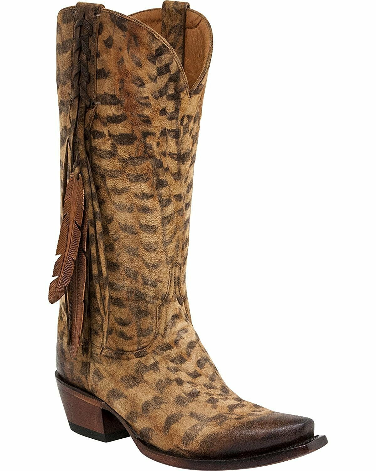 Lucchese M5105.S54 mujer Tori Hand Tooled Feather Cowgirl bota Snip Toe M