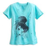 Tinker Bell Slub V-neck Tee For Women -size Medium (8-10) Disney
