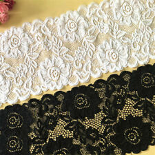 1Yard WQDWF Ribbons 10mm Elastic Ribbon Pleated Lace Ribbon with Lace Trim Patchwork Material DIY Sewing/&Headwear Accessories Decor Material,Black