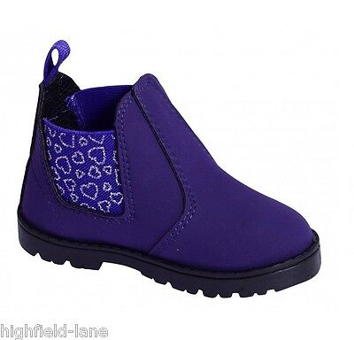 Nuevo CHICAS Distribuidor Botas Negro Púrpura tirar-en Tamaño