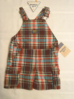 Osh Kosh B'gosh Baby Boys 12 Month Brown Plaid Short Overall Outfit