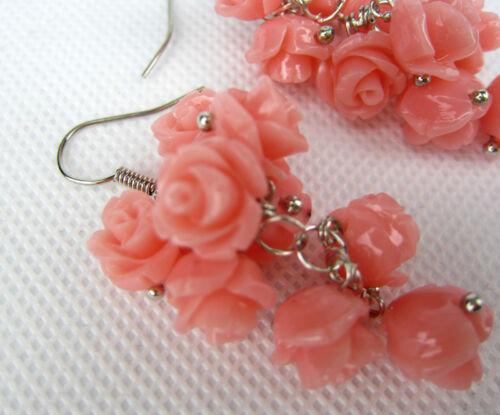 Fashion Handmade sculpté roses rose vrai corail Boucle d/'oreille nouveaux bijoux cadeaux