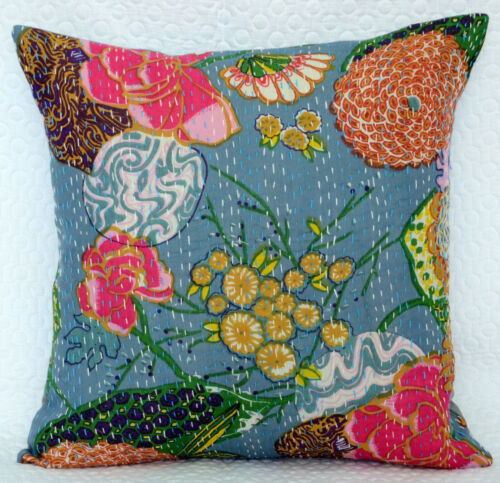 16/'/' INDIAN CUSHION COVER PILLOW CASE KANTHA WORK FLORAL ETHNIC THROW DECOR ART