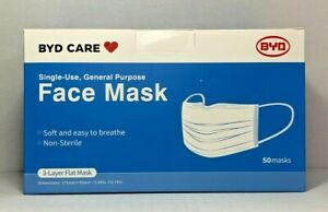 BYD Single Use Disposable Face Mask, One Size - 50 Pack