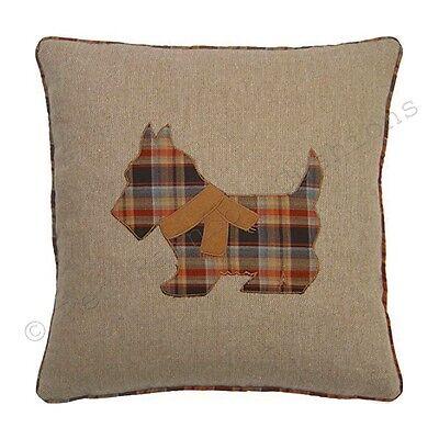 "Tartan Scottie Dog 18"" Brown & Orange Cushion Cover Soft Woven Tweed Fabric BN"