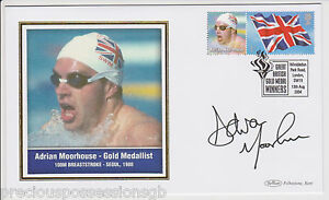 GREAT-BRITISH-GOLD-MEDAL-WINNERS-SIGNED-FDC-COVER-ADRIAN-MOORHOUSE-2004-OLYMPIC